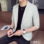 薄款夏款韓版修身棉麻短袖西服外套男士休閒五分中袖單件西裝上衣  聖誕節免運