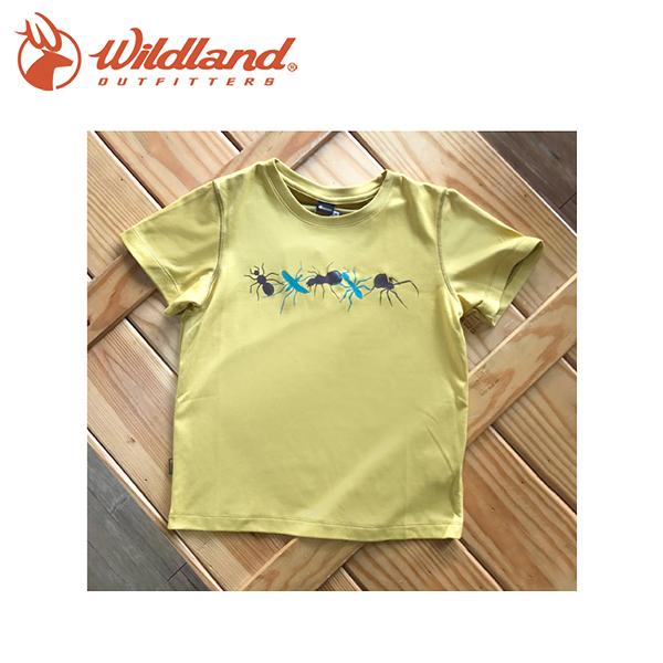 【Wildland 荒野 中童 椰碳印花排汗衣 黃】71670-40/兒童短袖/排汗衣