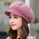 帽子女天加絨加厚護耳保暖帽貝雷帽鴨舌針織帽兔毛帽毛線帽女【果果新品】