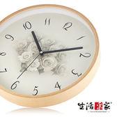 【生活采家】婉約玫瑰30cm木框靜音掛鐘#01028入
