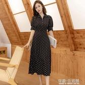 波點短袖雪紡洋裝女年夏季新款韓版寬鬆顯瘦遮肚子中長裙女 有緣生活館