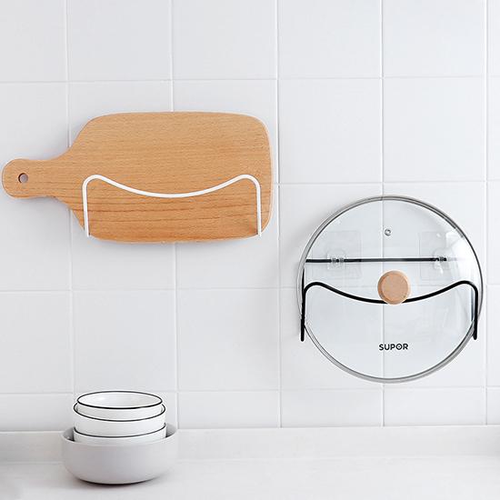 鍋蓋架 菜板架 瀝水 無痕 置物架 日式鐵藝家居 壁掛 黏膠 免釘 鐵藝鍋蓋架【Q170】米菈生活館