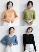 棉花糖手感多色v領打底衫長袖針織衫T恤女秋季新款薄款套頭衫內搭 嬌糖小屋