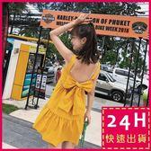 梨卡★現貨 - 度假沙灘海邊顯瘦心機後綁帶蝴蝶結露背連身短裙洋裝沙灘裙C6333