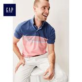 Gap男裝 彈力條紋短袖Polo衫 440726-舞會亮粉