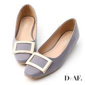 娃娃鞋 D+AF 典雅美型.大方釦微方頭娃娃鞋*紫