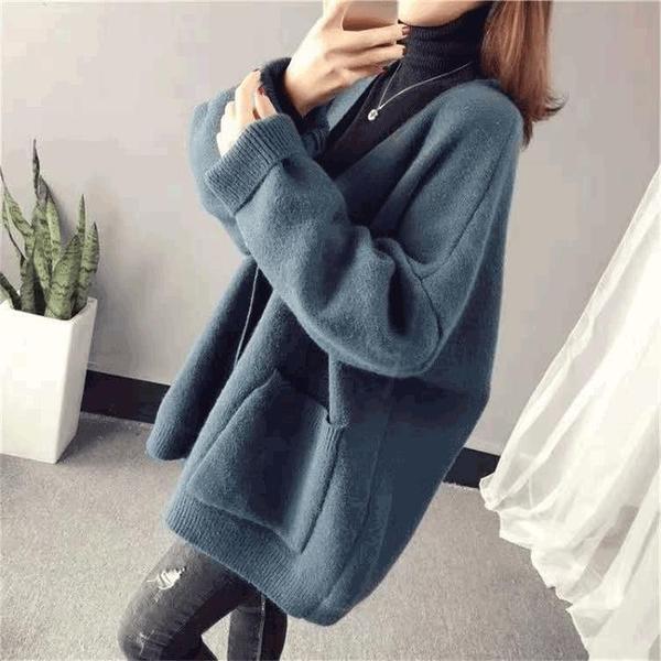 針織開衫外套女寬鬆毛衣秋冬外穿上衣【時尚大衣櫥】