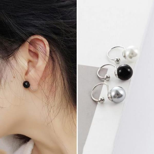極簡 歐美風 簡約 氣質 質感 灰珍珠 u形夾 耳夾 耳骨夾 無耳洞 耳釘 耳環 女