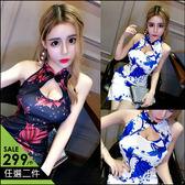 克妹Ke-Mei【AT46243】PARTY派對名媛復古印花摟空旗袍式洋裝