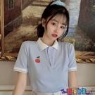 短袖POLO衫 日系polo衫短袖t恤女寬鬆韓版潮學生原宿風可愛少女甜美上衣服寶貝計畫 上新