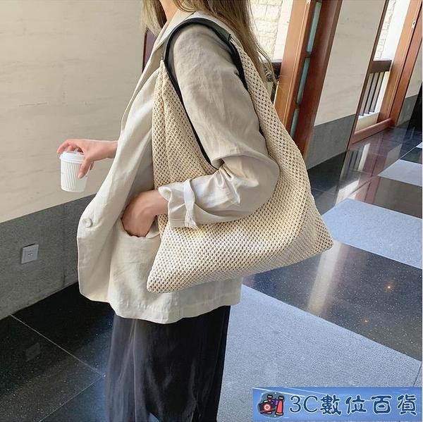 法國小眾包包洋氣女包夏新款2021流行編織單肩包度假風時尚草編包 3C數位百貨