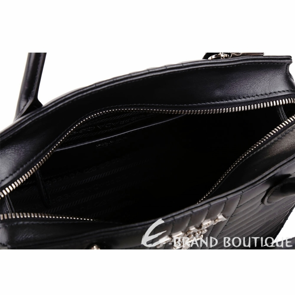 PRADA Diagramme 中款 絎縫小牛皮附鎖頭手提肩背包(黑色) 1830440-01