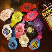 韓版復古風情侶電子錶學生男女日系原宿潮運動糖果色日韓時尚手錶     米娜小鋪