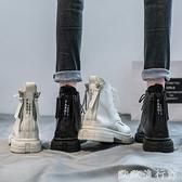 馬丁靴 後跟雙拉鏈馬丁靴女鞋英倫風2021年新款春秋季網紅百搭短靴子 歐歐
