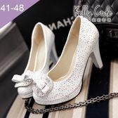 大尺碼女鞋-凱莉密碼-夢幻公主水鑽方扣圓頭防水台粗跟高跟鞋9cm(41-48)【SSA-112】白色