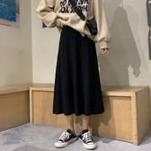 大擺裙 高腰針織半身裙女2020新款復古百搭垂感黑色大擺裙毛線中長款傘裙-米蘭街頭