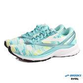 BROOKS 新竹皇家  LAUNCH 4 藍綠 線條感 橡膠大底 皮革 慢跑鞋 女款 NO.I7465