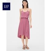 Gap女裝 柔軟竹節吊帶中長款無袖洋裝 468908-灰粉紅色
