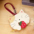 Kiro貓 草莓貓造型 透明視窗識別證/零錢包/鑰匙收納包【222224】