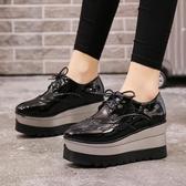 厚底鞋女2018秋季新款英倫布洛克雕花小皮鞋鬆糕百搭韓版增高單鞋