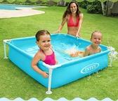 INTEX嬰兒游泳池兒童方形夾網支架水池幼兒寶寶浴盆戲水釣魚池-米蘭街頭