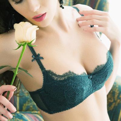 性感蕾絲軟薄杯文胸套裝可拆肩帶誘惑小胸1/2半杯薄款內衣夏-0713001