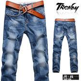 『潮段班』【SD033251】M-XL刷白微皺摺丹寧牛仔長褲 休閒長褲 牛仔褲