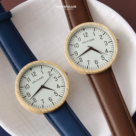 手錶 復古文青仿木紋錶殼腕錶 柒彩年代【NE1939】單支