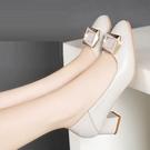 粗跟鞋 真皮紅婧蜒女鞋子2021年新款春季單鞋女士小皮鞋粗跟秋鞋