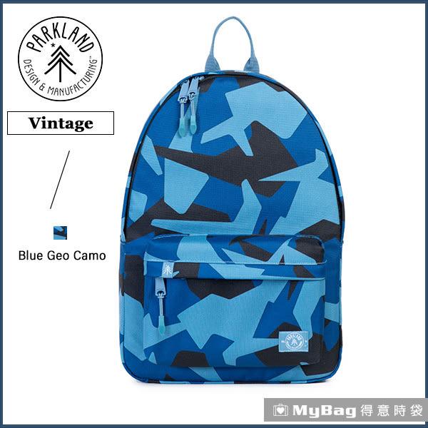 Parkland 後背包 藍色迷彩 電腦後背包 簡約休閒背包 Vintage-068 MyBag得意時袋