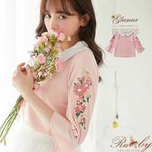 【限時79折】上衣 刺繡花朵立領七分袖上衣-粉紅色-Ruby s露比午茶