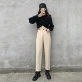 特惠限購 韓版高腰休閑褲子女冬裝新款寬松闊腿直筒奶奶褲顯瘦毛呢女褲