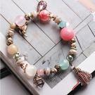潘朵拉風格甜美彩色水晶珠奢華鋯石雙色流蘇 串珠 手鍊