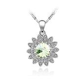水晶項鍊+925純銀吊墜-向日葵造型白色情人節生日禮物女飾品5色73bb332【時尚巴黎】