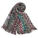 KENZO時尚民族風純棉圍巾(卡其藍)084035