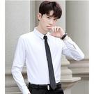襯衫男長袖修身商務正裝帥氣黑白色寸襯衣男士休閒工裝男韓版潮流 果果輕時尚