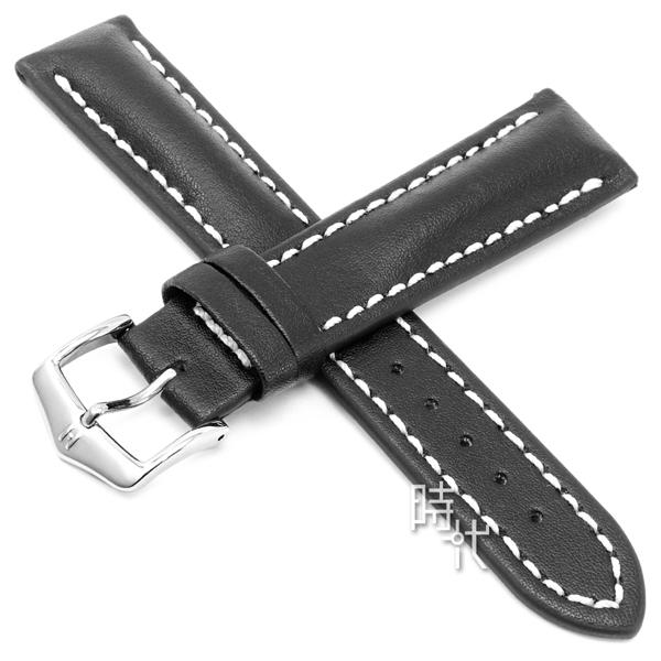 【台南 時代鐘錶 海奕施 HIRSCH】小牛皮錶帶 Heavy L 黑色 附工具 01475050  百米防水