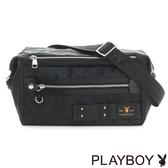 PLAYBOY- 翻蓋斜背包 性格迷彩系列-黑色
