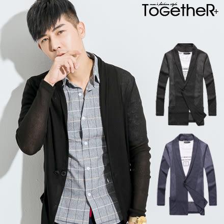 ToGetheR+【J0161】韓風西裝式薄針織長版外套罩衫(三色)