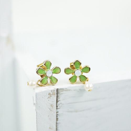 【粉紅堂飾品】珍珠小花可愛耳環 *綠色*