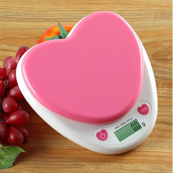 BO雜貨【SV8170】愛心電子料理秤 粉色心型廚房電子料理秤 秤重0.1g-3kg 烘焙料理 造型秤KS-586