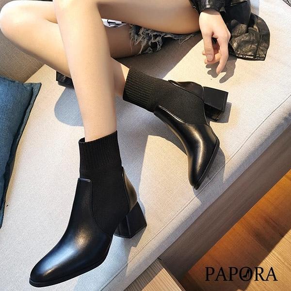 PAPORA素面後拉錬粗跟短靴KK6334黑色/米色