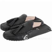 TOD'S Gommino 流蘇拖鞋式牛皮豆豆穆勒鞋(女款/黑色) 1830105-01