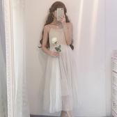 春季新品洋裝正韓女裝氣質裙子吊帶裙學生中長款打底網紗裙連衣裙