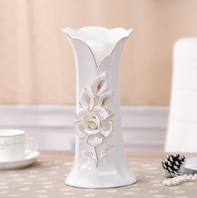 幸福居*歐式陶瓷花瓶台面插花擺件客廳玄關電視櫃時尚簡約現代裝飾工藝品1(主圖款)