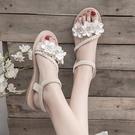 低跟涼鞋 仙女風涼鞋女學生2020夏季新款女鞋軟妹配裙子的沙灘鞋平底羅馬鞋