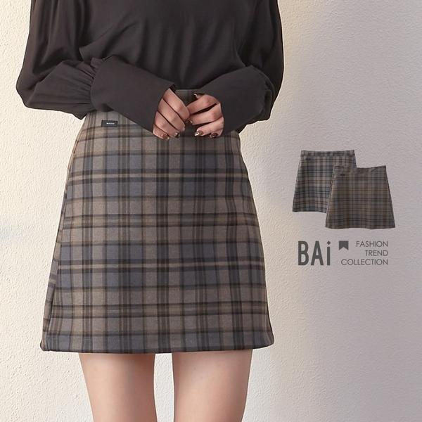 褲裙 微彈性呢料格紋小布標後拉鍊短裙S-L號-BAi白媽媽【301863】