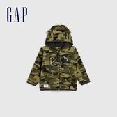 Gap嬰兒 LOGO迷彩開襟熊耳造型連帽衫 592878-綠色迷彩