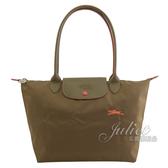 茱麗葉精品【全新現貨】 Longchamp COLLECTION刺繡奔馬折疊長把肩包.墨綠 #2605