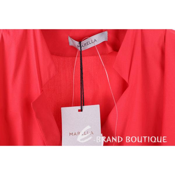 MARELLA 紅色抓褶設計綁帶短袖洋裝 1620504-54